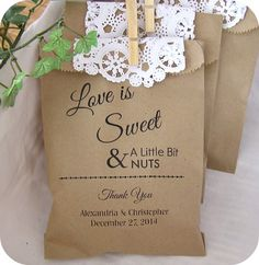 Custom Kraft Treat Bags - Peanuts - country or rustic weddings and parties.  We could also do these on gift boxes!  Too cute!