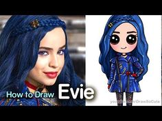 How to Draw Mal from Disney Descendants Cute step by step Kawaii Disney, Easy Disney Drawings, Cute Easy Drawings, Disney Princess Drawings, Kawaii Girl Drawings, Cute Girl Drawing, Drawing For Kids, Drawing Tips, Drawing Cartoon Characters