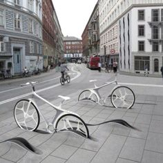 Bike racks. Now that's a city serious about biking.