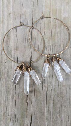 Hoop Earrings Wire Wrap Quartz Crystal Points Rustic Jewelry Big Earrings Boho Gypsy Hammered Brass Metalwork Earrings