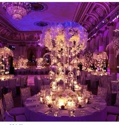 Purple Wedding Centerpieces Decoration : Luxury Wedding Party Room Decoration With Round Dining Tables Combine With Light Table Centerpiece And Gorgeous Purple Wall And Ceiling Decorations Perfect Wedding, Dream Wedding, Wedding Day, Luxury Wedding, Mod Wedding, Wedding Table, Trendy Wedding, Reception Decorations, Wedding Centerpieces