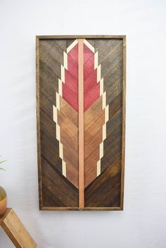 Handmade Reclaimed Wood Wall Art Hanging - Feather Wall Art Piece