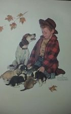 """Norman Rockwell Raised Embossed Print """"Pride of Parenthood"""" A Boy & His Dog"""