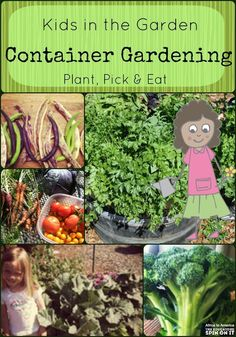 Plant, Pick, & EAT!!!! Learning about growing with container gardens.  A great way for kids to garden in small spaces.