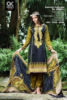 Formal Wear Suits For Girls By Alkaram From 2014 & 2015 New Dress Collection, Winter Collection, Western Dresses For Women, Desi Clothes, Women's Clothes, Pakistani Street Style, Shirt Embroidery, Pashmina Shawl, Dress Suits