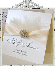 Fluffy ivory feather Wedding Invitation. Invitations from £5.75