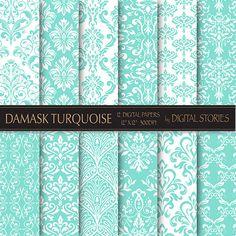 Damask Digital Paper DAMASK TURQUOISE scrapbook by DigitalStories, €2.60