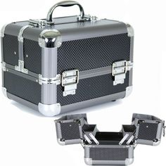 Bucasi Aluminum Makeup Train Case with Polka Dot Lining to Store and Organize Makeup Jewelry Nail Polish ** You can find more details by visiting the affiliate link Amazon.com.