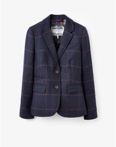 Designer Clothes, Shoes & Bags for Women Navy Blue Blazer, Navy Jacket, Plaid Jacket, Tweed Blazer, Blue Plaid, Blazer Jacket, Blazer And Shorts, My Outfit, Autumn Fashion