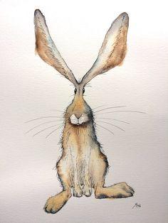 Wriggle the sitting hare  Original watercolour hare painting