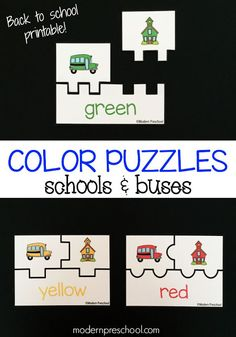 Adorable school bus color matching printable puzzles. Fun back to school activity for preschoolers.