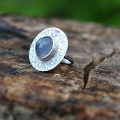 Handmade sterling silve, blue moonstone ring – hearts of brass
