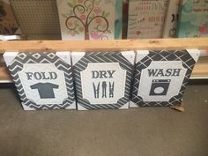 Laundry signs on canvas