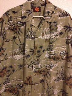 Tiki Hawaiian Shirt Mens Large Hula Girl Hut Beach Palm Island Bull's Eye #BullsEye #Hawaiian