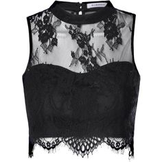 Black Sheer Lace Scallop Hem Crop Top ($32) ❤ liked on Polyvore featuring tops, shirts, crop top, black, high neck top, sheer black lace top, black shirt and black top