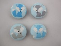 Little Blue Fox Magnets - Ann Kelle for Robert Kaufman - Set of 4 - Blue and Grey by adrisadorables on Etsy