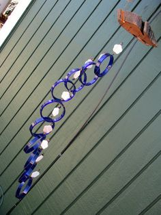 Swirl Glass wind chime, Recycled wine bottle wind chime, upcycled, glass circles, Cobalt blue glass,  lime green beads