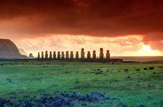 Ahu Tongariki Moai with Poike and Motu Marotiri, Easter Island,...