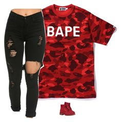 """""""Untitled #764"""" by prettygirlnunu ❤ liked on Polyvore featuring beauty, A BATHING APE and Timberland"""