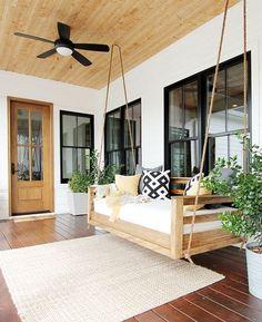 Diy swing bed diy porch swing bed porch swing bed plans diy porch swing b. Farmhouse Porch Swings, Farmhouse Front Porches, Modern Farmhouse Porch, Front Porch Swings, Swinging Porch Bed, Porch With Swing, Back Yard Porch, Porch And Patio, Modern Porch Swings