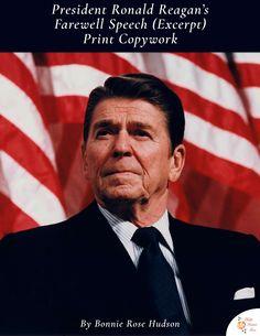 Limited time freebie! President Ronald Reagan's Farewell Speech (Excerpt) Copywork  - WriteBonnieRose.com