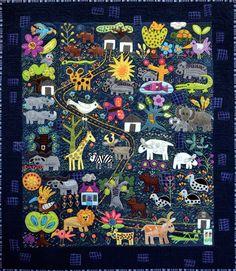 """""""Folk Tails"""" quilt kit by Sue Spargo."""