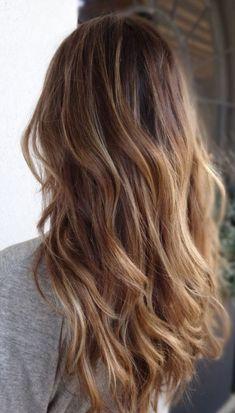 Kahverengi Sarı Sombre Saç Modelleri