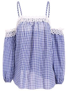 Cold Shoulder Checked Puffed Sleeve Blouse