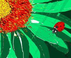 Op dit schilderij is gebruik gemaakt van complementrair contrast. De kleuren groen en rood zijn gebruikt en die staan recht tegenover elkaar in de kleurencirkel.