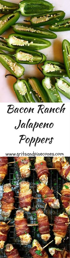 These Baked Bacon Ranch Jalapeño Poppers are one of the easiest and jalapeño snacks to prepare and perfect Super Bowl or game day food.  via @http://www.pinterest.com/gritspinecones/