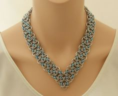 Chain maille V collar necklace in light blue and by SilverSerenade, $70.00