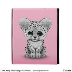 Cute Baby Snow Leopard Cub on Pink iPad Cases