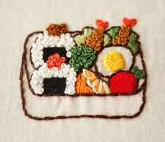 Yula - おにぎり弁当 . #刺繍 #手刺繍 #enbroidery #お弁当#おにぎり#bento