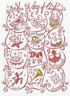 Twelve Days of Christmas Vintage Christmas Card - 2E116