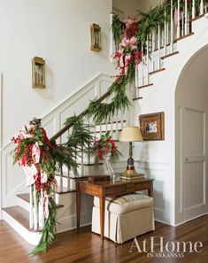 A Christmas Classic - Jeremy Carter uses fresh holiday décor to highlight the traditional, collected aspects of a family home - Christmas Staircase, Christmas Home, Christmas Holidays, Christmas Crafts, Christmas Quotes, Christmas Trees, Christmas Dance, Classic Christmas Decorations, Southern Christmas