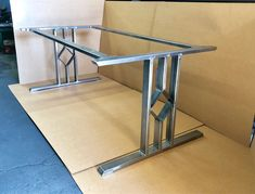Design Dining Table Base Three Bars With Diamond Set of 2 Steel Steel And 2 Braces Wooden Shelf Brackets, Black Door Handles, Dining Table Legs, Steel Table, Industrial Table, Outdoor Lounge, Metal Furniture, Wood Design, Middle
