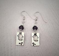 Bird earrings Sterling silver metal stamped by AmbersWhimsy