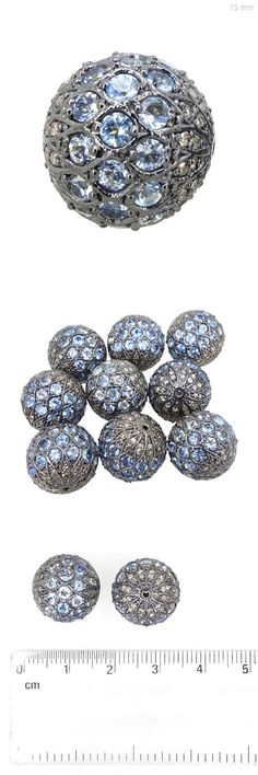 Findings and Stampings 165142: Blue Disco Bead Ball Topaz Diamond Spacer Finding Latest Sterling Silver Jewelry BUY IT NOW ONLY: $139.0
