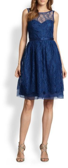 Theia Belted Lace Illusion Dress - Lyst