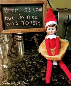 Our Elf on the Shelf is Toasty and warm. Twenty Elf on the Shelf Antics – Jandals and Jet Planes Merry Christmas, Christmas Elf, All Things Christmas, Christmas Kitchen, Christmas Makeup, Blue Christmas, Christmas Ideas, Elf Ideas Easy, Awesome Elf On The Shelf Ideas