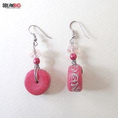 Pink Fuschia handmade polymer clay earrings Summer Modern