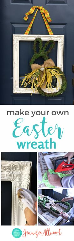 DIY Easter Wreath Ideas and Front Door Easter Decorations | Magic Brush | DIY Wreath | Repurposing Old Frames | Upcycled Frame | Easter Decor + Spring Decor