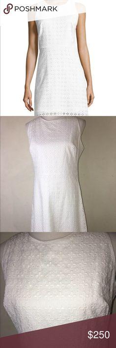 Milly Eyelet Slim Shift White Dress Size 12 Milly Eyelet slim shift white dress in women's size 12. Milly Dresses