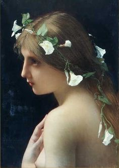 Nymph with Flowers by Jules Lefebvre, (1890?)