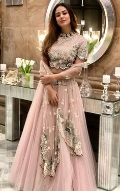 Mira Rajput Kapoor wears a pastel lehenga and choker at a friend's Delhi wedding. - Mira Rajput Kapoor wears a pastel lehenga and choker at a friend's Delhi wedding Indian Wedding Outfits, Bridal Outfits, Indian Outfits, Bridal Dresses, Bridal Gown, Designer Bridal Lehenga, Bridal Lehenga Choli, Pink Lehenga, Designer Lehanga