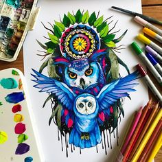 Owl king. Fantasy Animals in Different Style Drawings. By Pixie Cold.