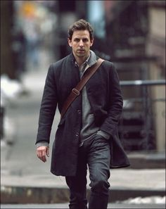 Seth Meyers. Jacket has good lines, like the leather satchel strap too