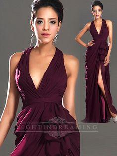 Halter V-neck Open Back Split Long Prom Dress 150525tb03