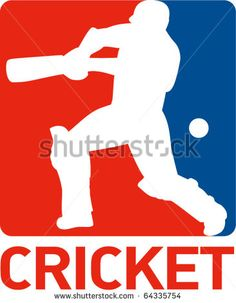 """vector illustration of a cricket sports player batsman silhouette batting set inside a red blue square format shape with words """"cricket"""" - stock vector #cricket #retro #illustration"""