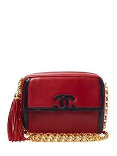 Bicolor Red & Navy Boarder Lambskin Camera Bag from Elevate Your Look: Vintage It Bags on Gilt
